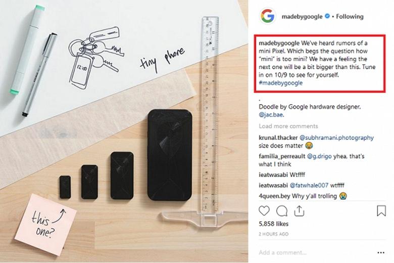 42db2e0b3043 Буквально пару дней назад компания Google опубликовала рендер пока еще не  подтвержденного смартфона Pixel Mini. И тогда компания спросила у  пользователей, ...